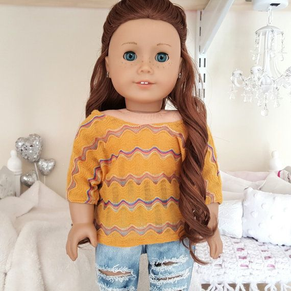 Yellow slouchy top by SewCuteForever on Etsy. Made using the Dolman Sleeve Top pattern, found at http://www.pixiefaire.com/products/dolman-sleeve-top-18-doll-clothes. #pixiefaire #dolmansleevetop
