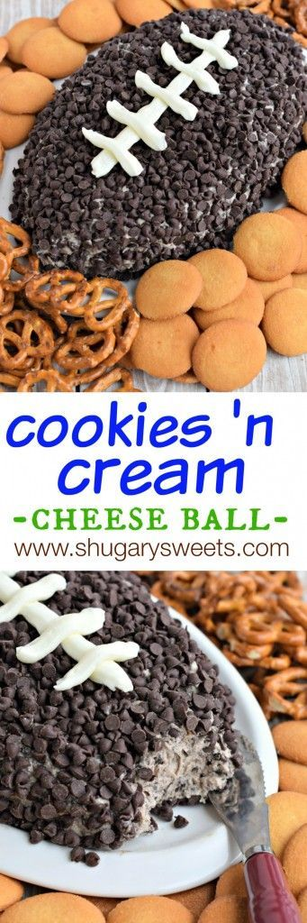 This Cookies and Cream Cheese Ball is fun and delicious! Shape like a football for your next game day party! /shugarysweets/ Ideal for a football themed birthday party or bar mitzvah