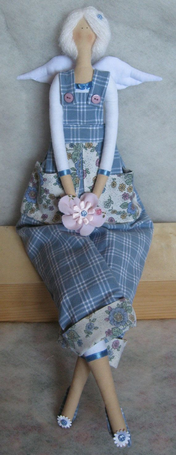 Christmas gift eco soft toy fabric stuffed doll Tilda by Xena28