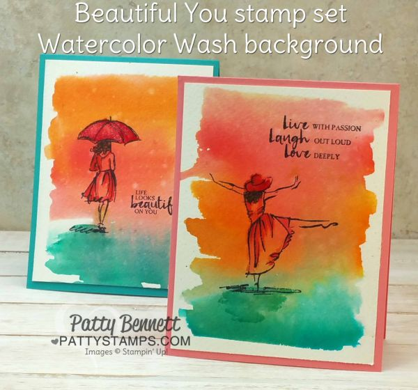 Watercolor Wash background - Beautiful You cards