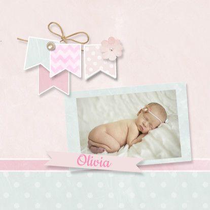 Fotokaart pastel krijt - Geboortekaartjes - Kaartje2go