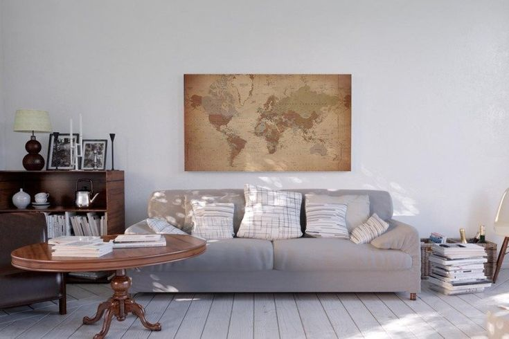 Leinwandbild Weltkarte Antik - Englisch - 135x78 cm