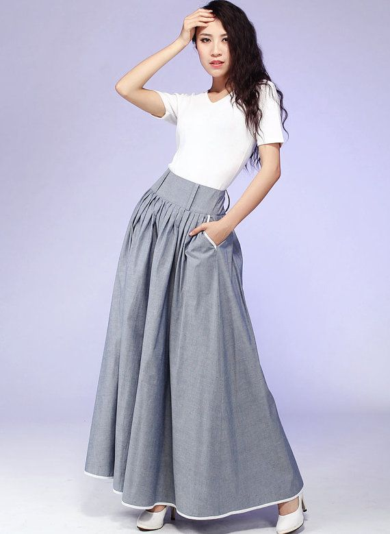 Gray Maxi Pleated Skirt Long Cotton Fabric skirt with by xiaolizi