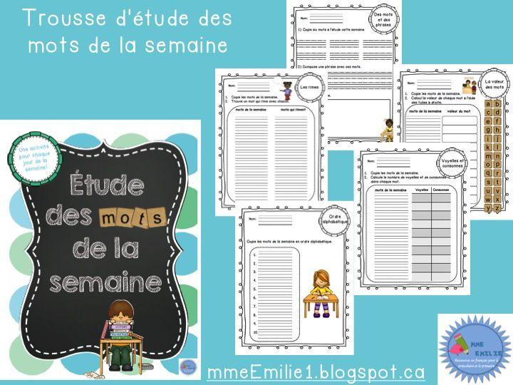 French word work activities/Trousse d'étude des mots de la semaine À imprimer!