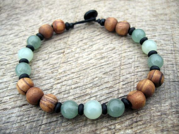 Mens surfer bracelet, jade, aventurine and Bethlehem olive wood beads, earthy natural materials, on strong cord, toggle and loop clasp
