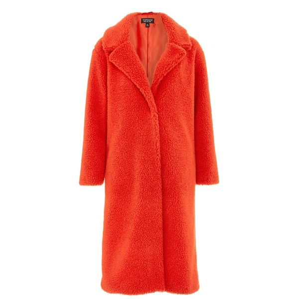 Topshop Longline Teddy Faux Fur Coat ($130) ❤ liked on Polyvore featuring outerwear, coats, red, imitation fur coats, longline faux fur coat, texture coat, red coat and fake fur coat