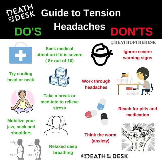 If you are getting tension headaches, here is a quick guide to help you out! ---------------------------------------------------- 👨⚕️ If you experiencing extreme pain or discomfort 8 or higher out of 10, its wise to seek medical attention. ---------------------------------------------------- ❄️ Try cooling your head and neck with a cold towel. ---------------------------------------------------- 💆♂️Tension headaches are just that-tension. Take a break from what you're doing, meditate or…