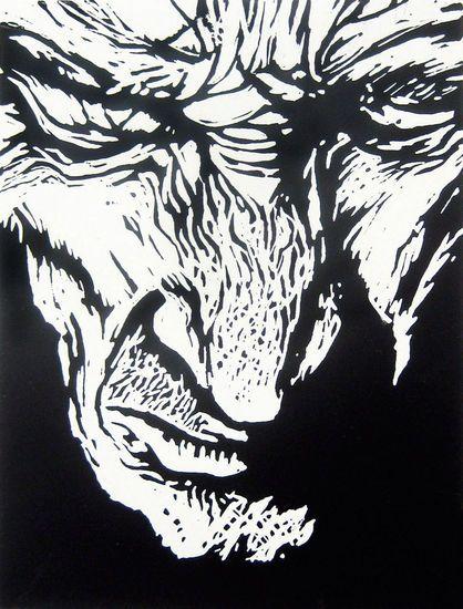"""Josef"" linocut by Sean Lingwood. http://www.eastlondonprintmakers.co.uk/nodes/view/189. Tags: Linocut, Cut, Print, Linoleum, Lino, Carving, Block, Woodcut, Helen Elstone, Man, Old, Aged, Portrait, Face."