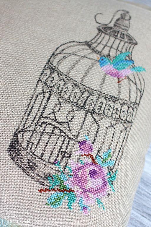 Lovely screen printing and cross stitch..Птичьи клетки / Birdcages - Вечерние посиделки