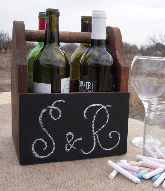 Chalkboard Wine Carrier! Perfect! Etsy listing at https://www.etsy.com/listing/176962202/chalkboard-wine-carrier-handcrafted-from