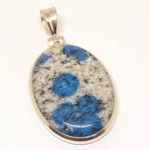 K2 = Azurite flowers in white Granite | Pendant 925 Sterling Silver | Spiritual insight grounded relaxed | Sagittarius Stone | Crystal Heart Melbourne  1986