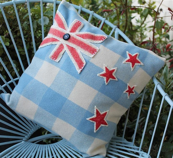 New Zealand Flag Vintage Kiwi Wool Blanket Cushion