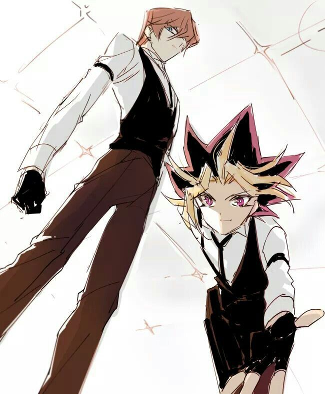 This is so awesome! Kaiba and Yami pull off a nice look in their outfits. Kaiba looks nice and smug. Amazing art.