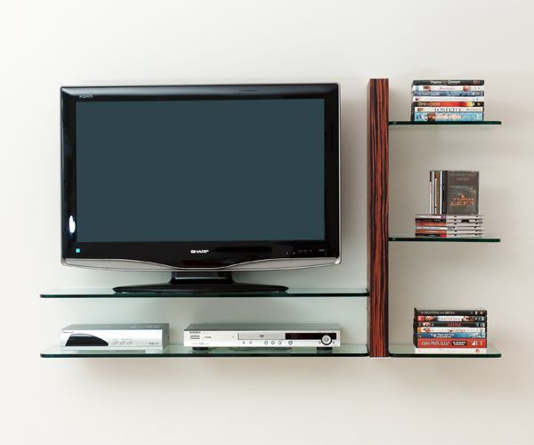 Gl Shelves That Add To The Decor Of A Small Apt New In 2018 Wall Mounted Tv Cabinets Tvs