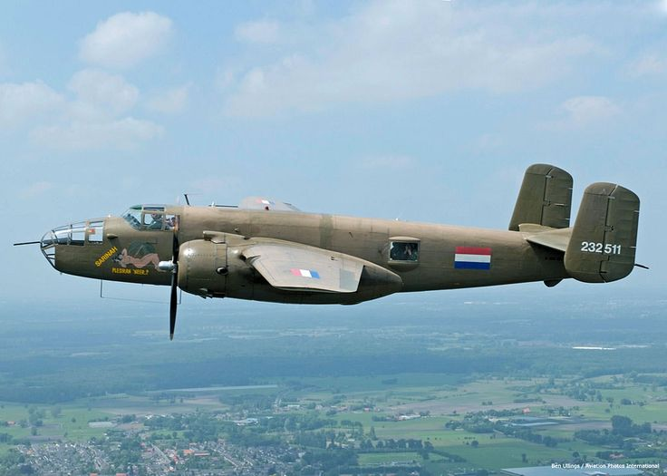 North American B25 Mitchell (PH-XXV).Royal Dutch air force historic flight.The prototype flew on August 19,1940 as the 1st of a total of 9,889.Named after U.S.General Billy Mitchell who shortly after WWI made ardent pleas to form a separate air force.Vilified for his views,& put on involuntarily leave but posthumously rehabilitated.Among 1st achievements of the Mitchell was the Tokyo Raid. General Jimmy Doolittle led a formation of Mitchells in an attack on Japan,from USS Hornet.