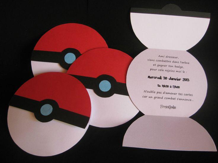 Idée sympa de cartons d'invitation pour un anniversaire pokémon sur le thème pokeball