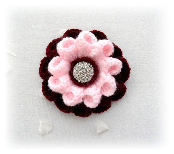 Crochet Brooch  Crochet Corsage Brooch Burgundy от CraftsbySigita, $12.60