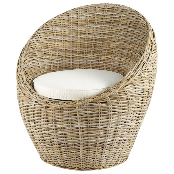 Kubu rattan armchair in ivory - Cocoon