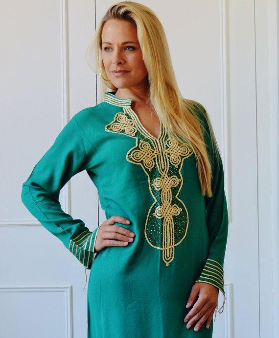 Autumn Winter Emerald Green  Moroccan Caftan Kaftan Aisha-loungewear,resortwear,spa robe, great for birthdays, Honeymoon or Maternity Gift
