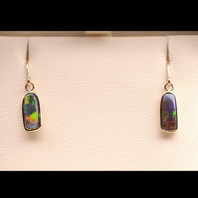 Natural Solid Boulder Opal 18k Gold Rectangular Drop Earrings