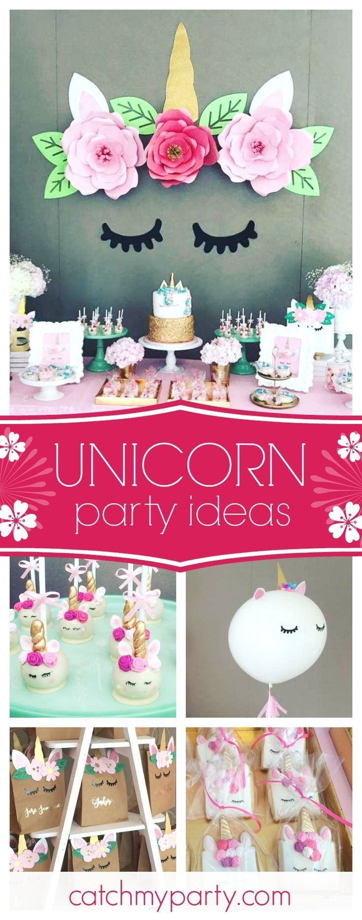 Swoon over this wonderful unicorn birthday party. The unicorn backdrop with the paper flowers is gorgeous!! See more party ideas and share yours at CatchMyParty.com #unicorn #girlbirthday #decoraciontematica
