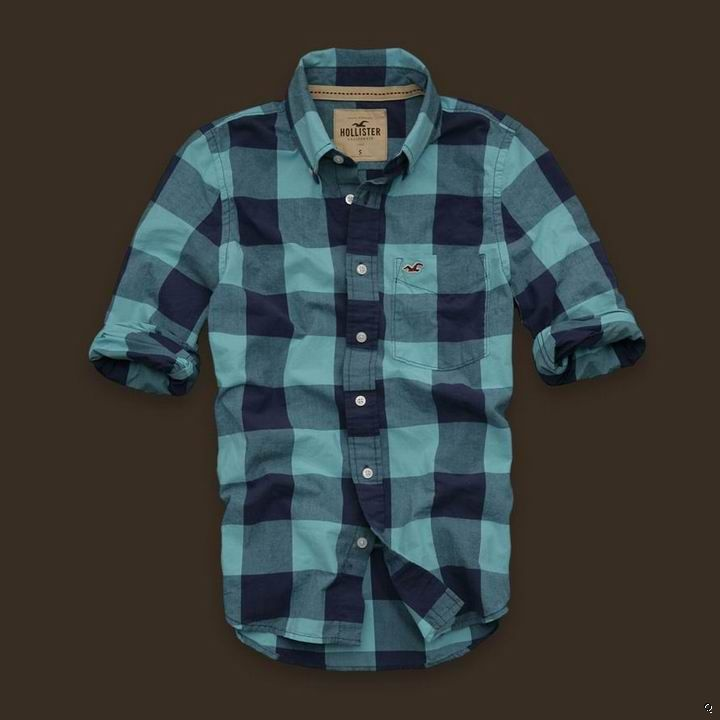 Hollister Mens Plaid Shirts Blue