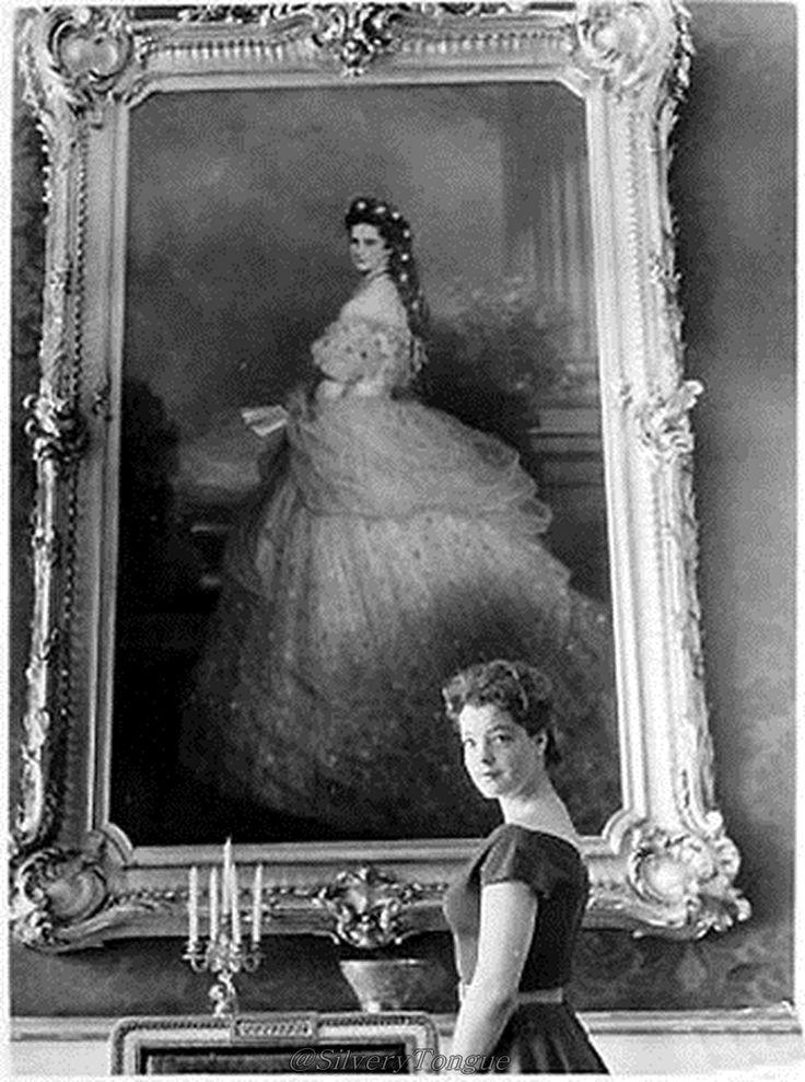 Romy Schneider in front of Empress Elizabeth Portrait.