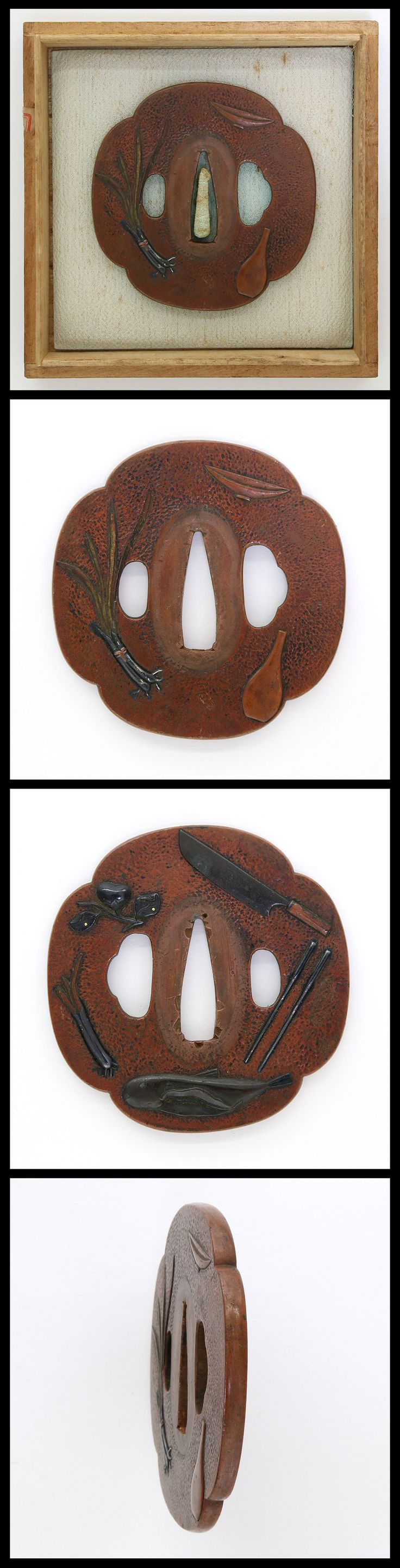 Edo Hocho-do (the way of the cleaver) motif is engraved on Mokko shape Suaka Tsuba. Hocho-do is a Japanese traditional cooking techniques and the manner