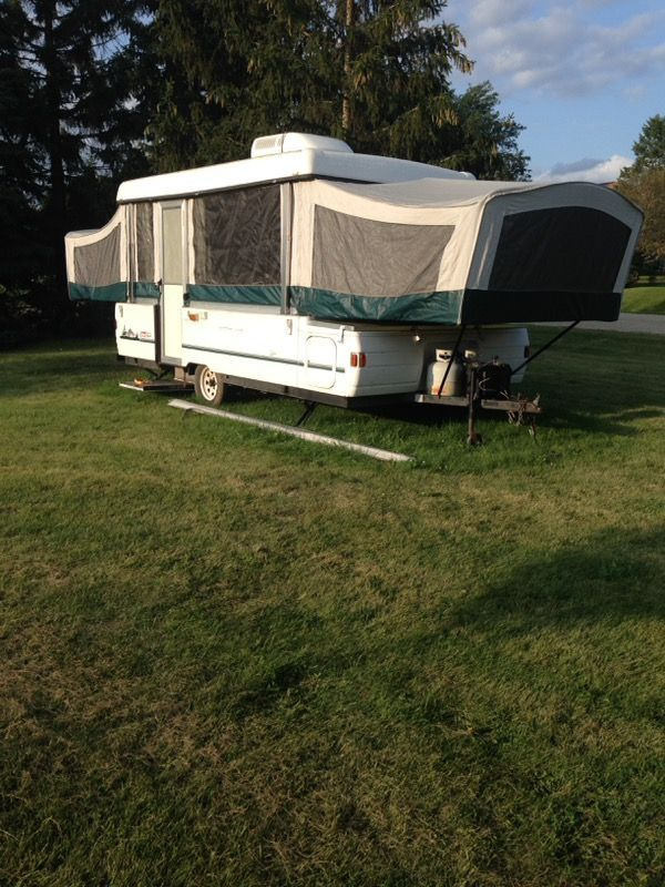 Used (normal wear) - I have a Coleman fleetwood Utah camper nice shape a/c, water heater, outside shower, inside sink, side bump out, awning, screen porch, front storage, and screen for a room outside camper. $2300 obo