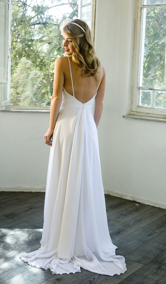 Romantic White chiffon beach wedding dress , low back wedding dress White Wedding dresses, Chapel train Bridal Gown custom size 4-6-8-10