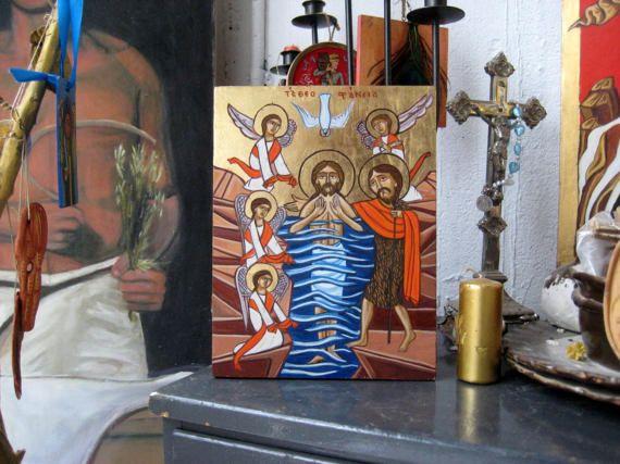 Theophany coptic orthodox icon Epiphany  Baptism of Christ