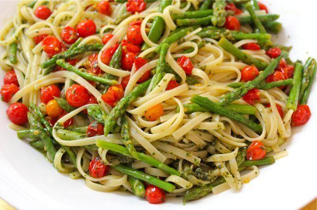 Linguine with Basil-Pili Pesto, Asparagus and Baby Tomatoes a la Marketman