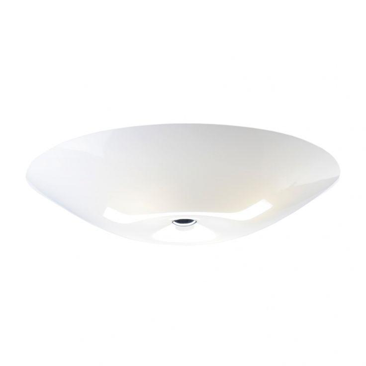 "Amanda 690 ceiling or wall light by Lisa Johansson-Pape, 1950's.  Finland.  White acrylic.  27"" diameter X 4.3"" high.  Sits slightly off surface to create halo light.  4XE27 standard medium base bulbs.  List $372."
