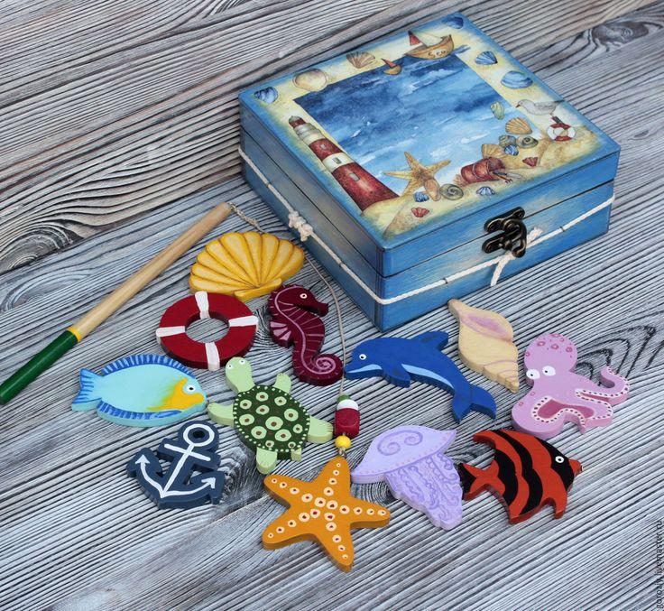 """Купить Игровой набор """"Морская рыбалка"""" - тёмно-синий, рыбалка, магнитная рыбалка, магнитная игра"""