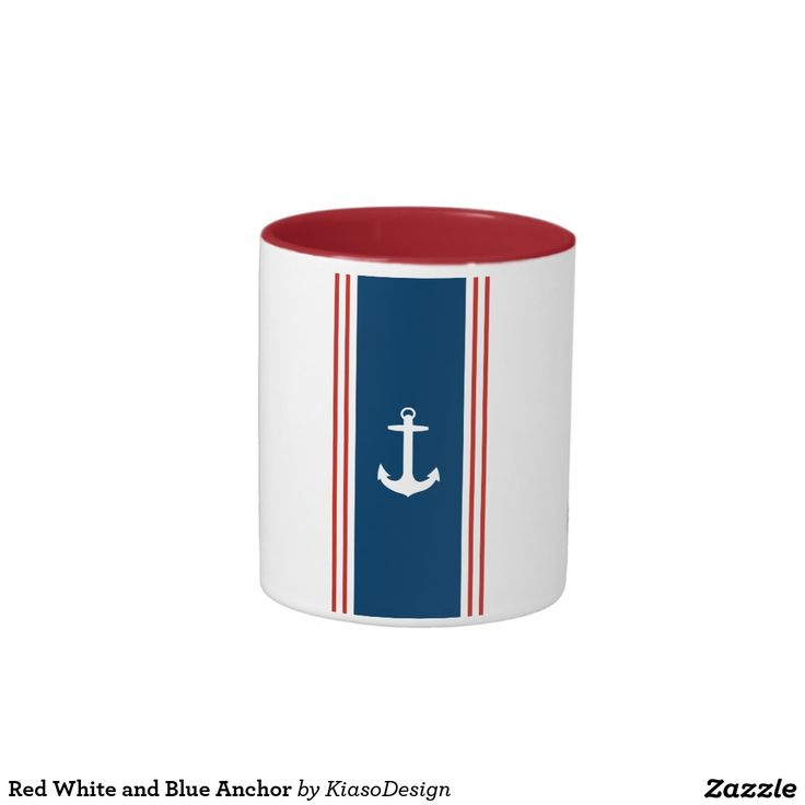 Red White and Blue Anchor Two-Tone Coffee Mug