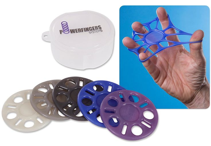 POWERFINGERS - Build grip, finger, and wrist strength, improve finger speed and dexterity, help prevent and gain relief from repetitive strain injuries in 10 minutes a day. 5 circular silicone bands of varying resistance are great for musicians, seniors, therapists, computer users, and anyone who wishes improved finger, wrist and forearm strength.  Set of 5, includes a plastic storage case.