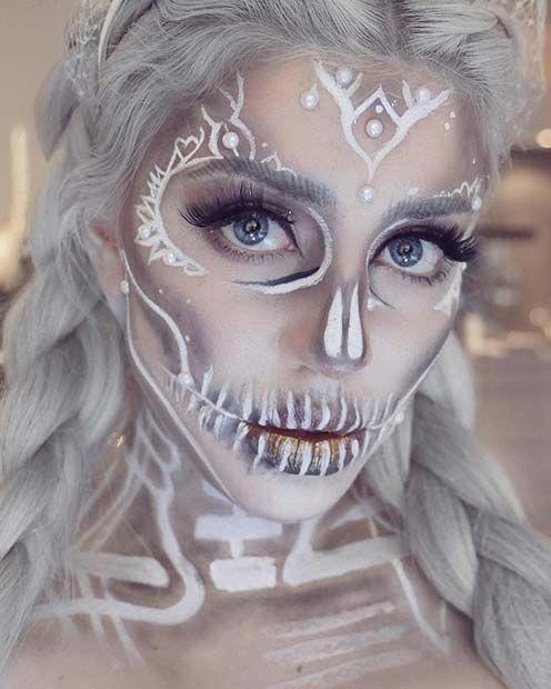 White Sugar Skull Halloween Makeup