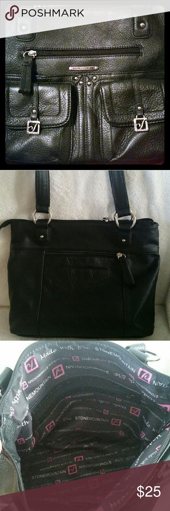 """Stone Mountain Black Pebbled Leather Shoulder Bag Excellent Condition/Pebbled Leather/12 compartments to organize/Clean Interior/No Flaws 13"""" w Stone Mountain Bags Shoulder Bags"""