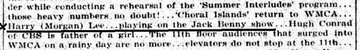 Abstract from a Variety article from August 1934, emphasizing the name of Harry (Morgan) Lee, who appeared on the Jack Benny show | Via Don M. Yowp (blogger)