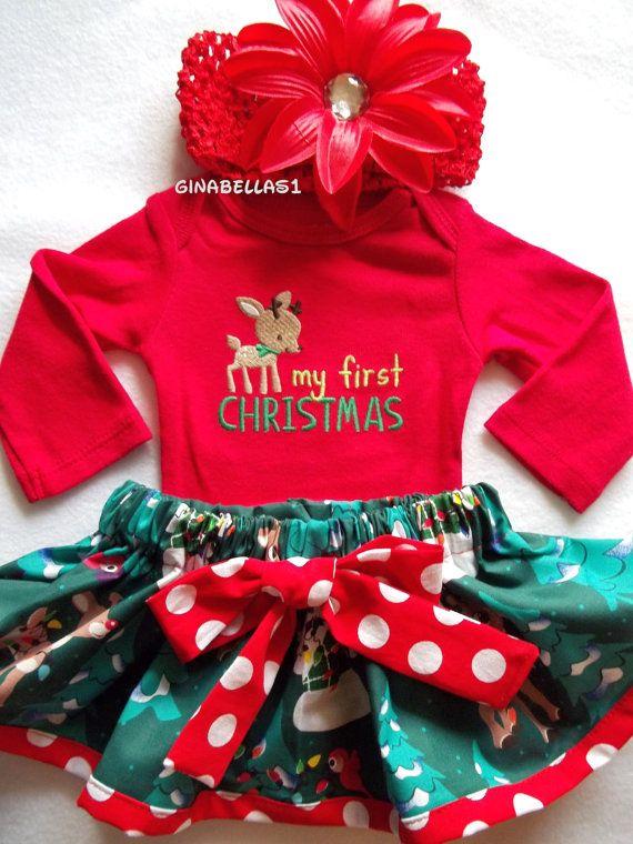 57a1e15af6ce My First Christmas outfit baby girl onesie dress Santa Baby Rudolph  Reindeer Frosty snowman skirt newborn 3 6 9 months Red bow headband …