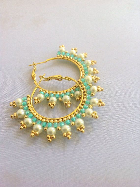 Pearl and turquoise hoop earrings by Beadgardener on Etsy, $13.00