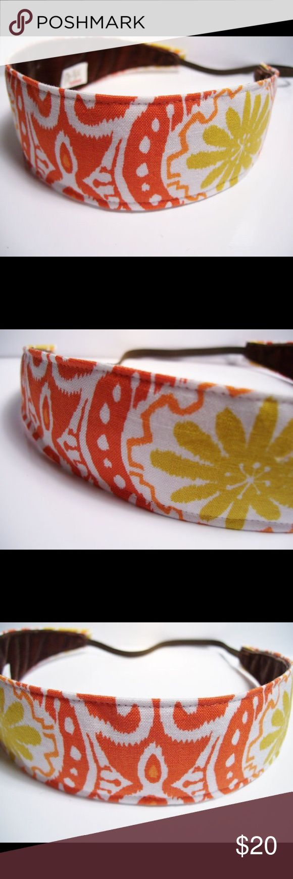 Handmade No-Slip Fabric Headband Orange Ikat Print Unique stretch Headband featuring designer fabric and a no-slip backing. Handmade to fit comfortably and perfectly. Great for athletic wear, running errands or even dressing up! Washable, durable and gorgeous. No more hurt heads from tight bands and no more slipping off! I am obsessed with these headbands and you will be too! I wear mine to dance classes, at work and out to dinner with my boyfriend. Discounts on bundles and more…