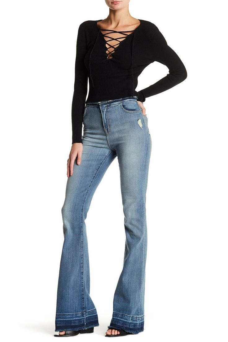 Maria Mid Rise Raw Hem Flare Leg Jean
