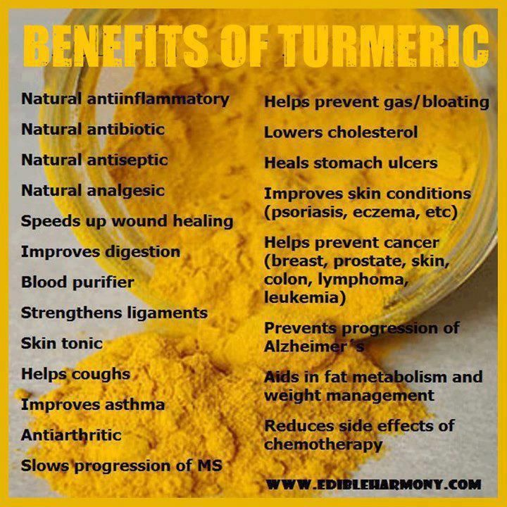 Turmeric / The active ingredient in turmeric is curcumin. Tumeric has been used for over 2500 years in India, where it was most likely first used as a dye. >The medicinal properties of this spice have been slowly revealing themselves over the centuries. Long known for its anti-inflammatory properties, recent research has revealed that turmeric is a natural wonder, proving beneficial in the treatment of many different health conditions from cancer to Alzheimer's disease.