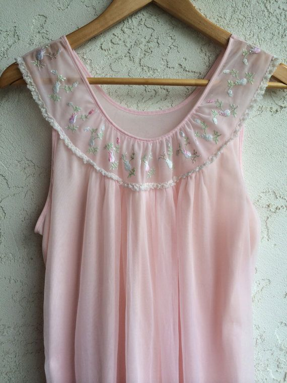 1960s Long Vintage Light Pink Nightgown// Pink Lingerie// Vintage 1960s Sleepwear by French Maid Lingerie Company M/L by TheFrenchSeventyFive