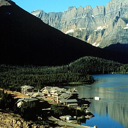 Many Glacier Hotel (Many Glacier Valley): exterior of hotel in pristine setting