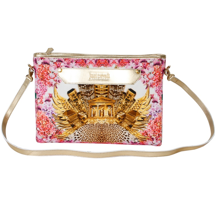 This striking clutch with metallic accents makes a statement with mixed prints! #robertocavalli #pink #justcavalli #italianfashion #fashion #purse #leather #luxuryfashion #marinamall #moda #clutch #metallic #floral #leopard #greenbird #baroque