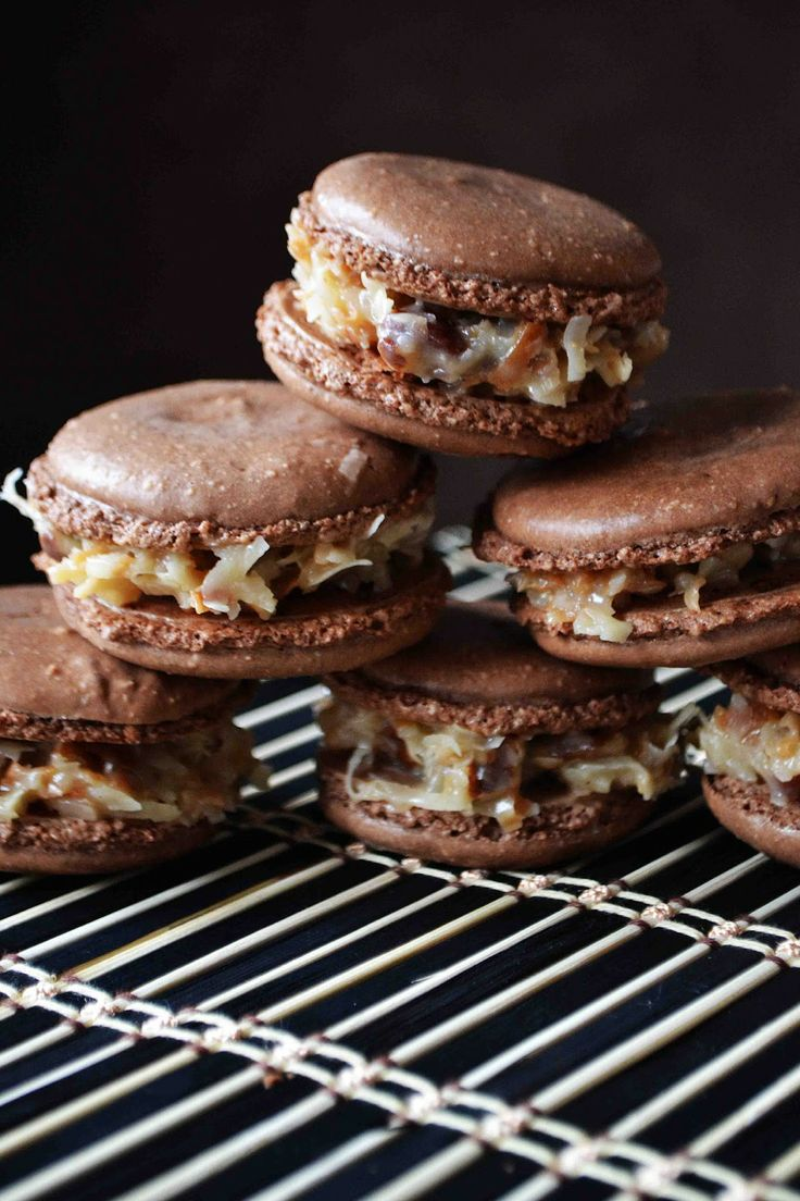 German Chocolate Macarons Oh my goodness. Debra actually made these substituting chocolate chips for the nuts and they were AMAZING!!!
