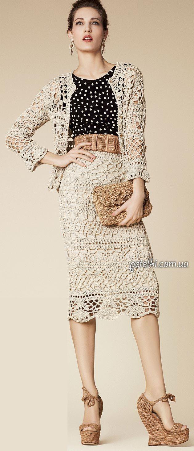 Шикарный костюм от Dolce & Gabbana крючком. Схемы
