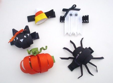 Halloween Ribbon Sculpture Hair Clips by BowSweet